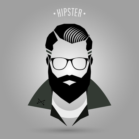hair style: Hipster men style sign on gray background