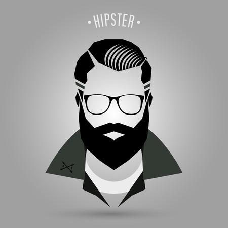 hombre con barba: Hipster signo hombres de estilo sobre fondo gris
