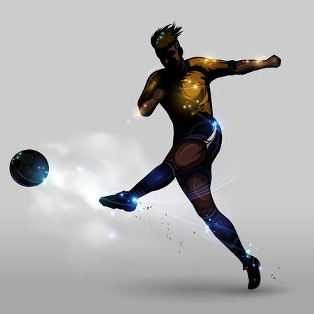 jugador de futbol: Resumen jugador de potencia silueta de fútbol que tira una pelota de fútbol Vectores