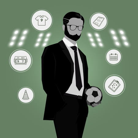soccer manager with soccer ball in hand and green background