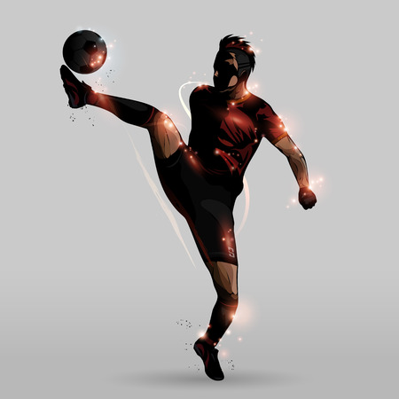 win win: Abstract soccer player kicking in the air Illustration