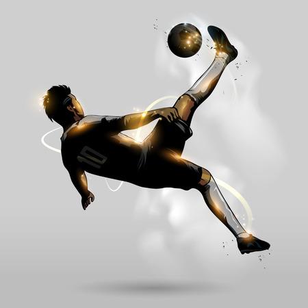 空気中のサッカー選手のオーバー ヘッド キックを抽象化します。