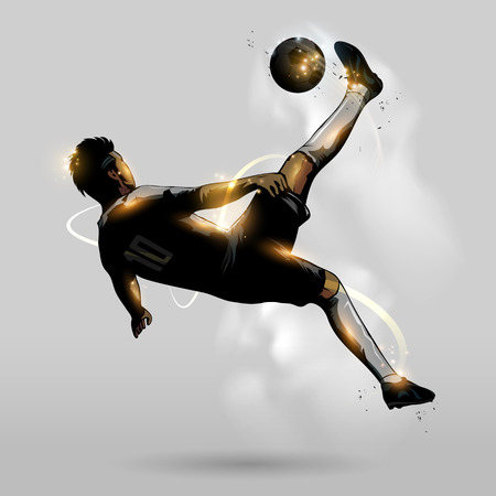 abstract soccer player overhead kick in the air Banco de Imagens - 44669489