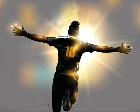 祝賀会: 抽象的なサッカー選手が実行して目標を祝う