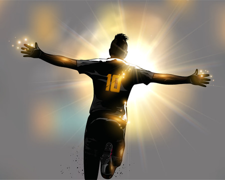 Abstract soccer player celebrates goal by running