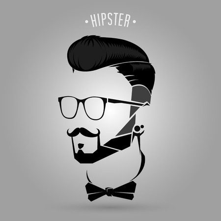 beard man: silhouette black hipster men trend symbol design Illustration