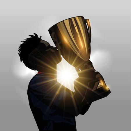 Het silhouet van voetballer kussen gouden trofee met een grijze achtergrond