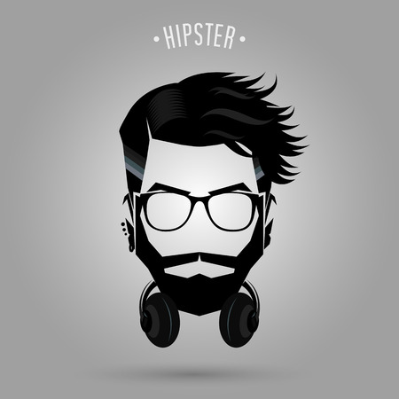 hipster man face with headphone symbol on gray background Banco de Imagens - 47219076