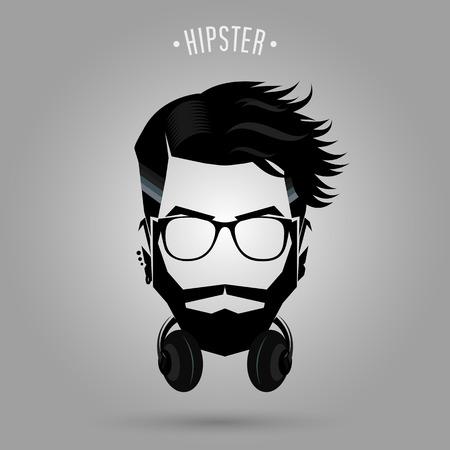silueta hombre: la cara del hombre inconformista con el símbolo de auriculares sobre fondo gris