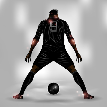 Soccer player getting ready to shoot a soccer ball Stock Illustratie