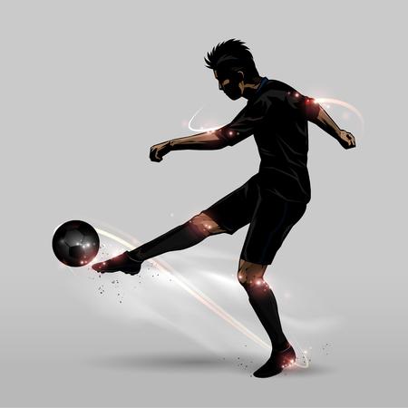 jugador de futbol: El jugador de fútbol en dar patadas a un balón de fútbol de media volea