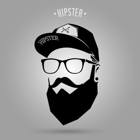 hipster man face with cap on gray background 일러스트