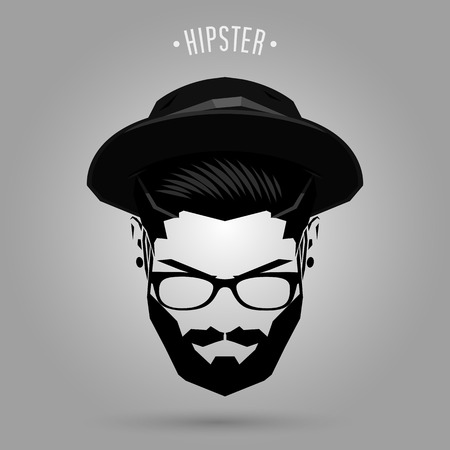 hipster man face with hat on gray background Ilustração
