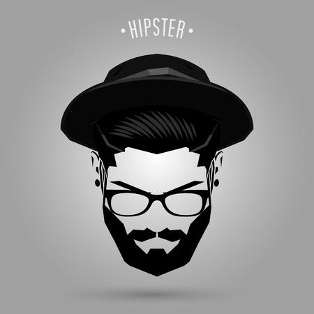 hipster man gezicht met hoed op een grijze achtergrond
