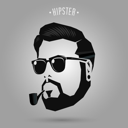 hipster man face with pipe on gray background