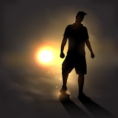 soccer player standing with soccerball at sunset Ilustração