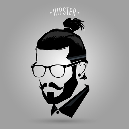 men hairstyle: Hipster men style sign on gray background