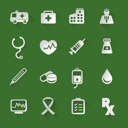 Medical flat icons set with long shadow style Ilustração