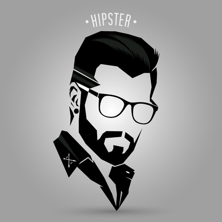 men hairstyle: Hipster hair style sign on gray background