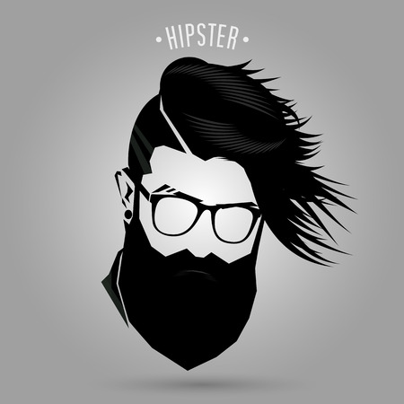 Hipster hair style sign on gray background