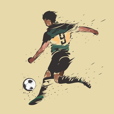 soccer player shooting color ink splash design