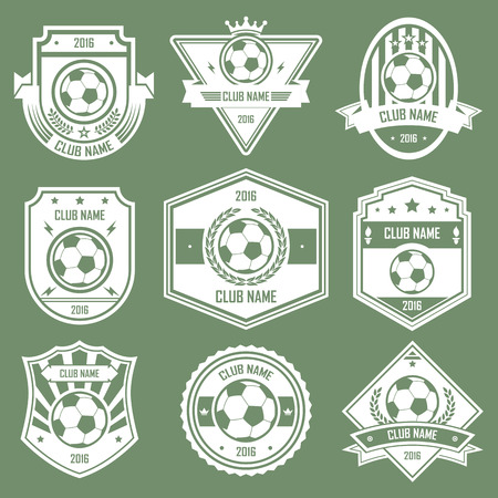 Collection of soccer club emblems with green background