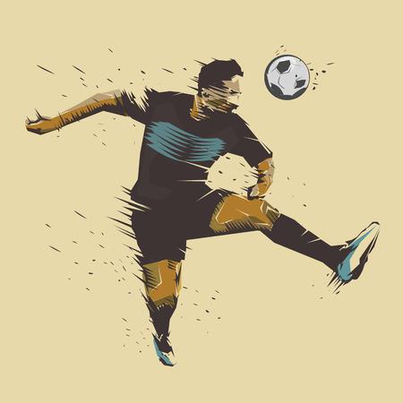 soccer player jumping color ink splash design