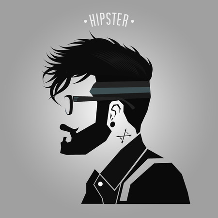 Hipster under cut hair style sign on gray background Banco de Imagens - 51801365