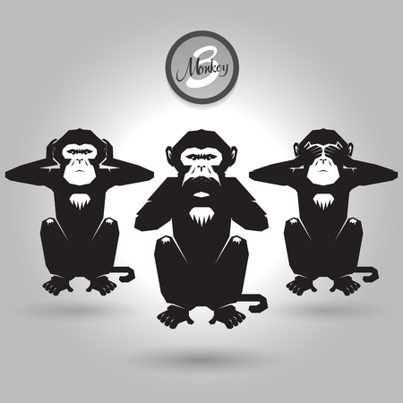 abstract tree wise monkeys on gray background Çizim