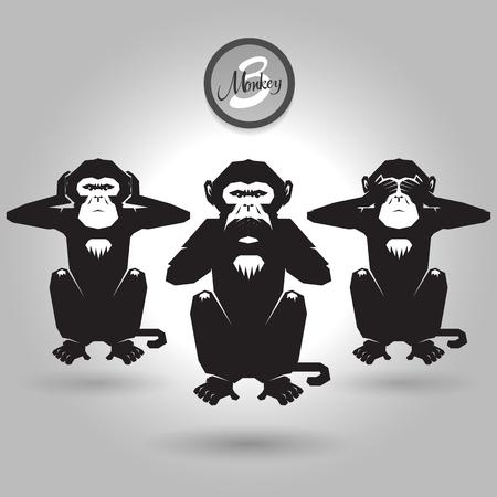 abstract tree wise monkeys on gray background Stock Illustratie