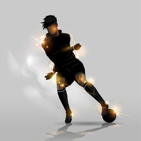 voetballer dribbelen een voetbal op een grijze achtergrond