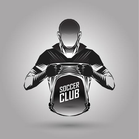 soccer player emblems symbol on gray background Ilustração