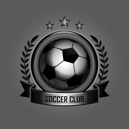 retro soccer ball emblems on gray background Ilustração