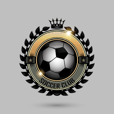 soccer emblems with crown on gray background