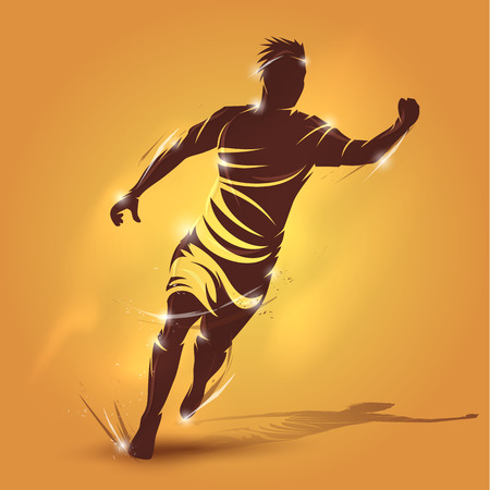 abstract soccer player running celebration on yellow background Ilustração