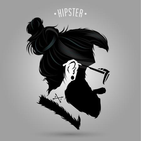 indie hipster man symbool ontwerp op een grijze achtergrond Stock Illustratie