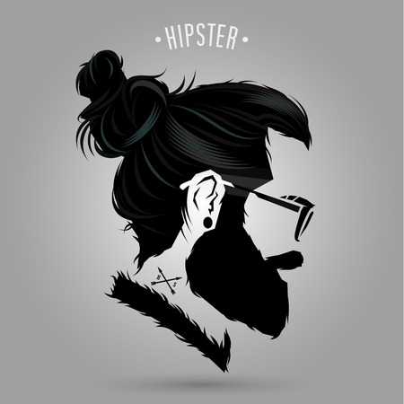indie Hipster Mann Symbolentwurf auf grauem Hintergrund Vektorgrafik