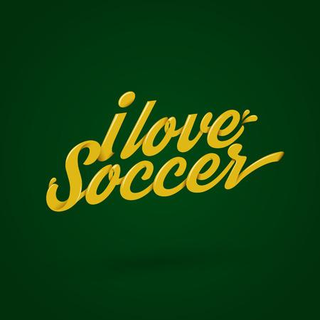 yellow i love soccer typography design on green background Ilustração