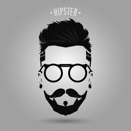 hipster Männer Symbol Bart Stil auf grauem Hintergrund Vektorgrafik