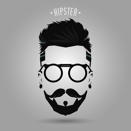 beard man: hipster men beard style symbol on gray background