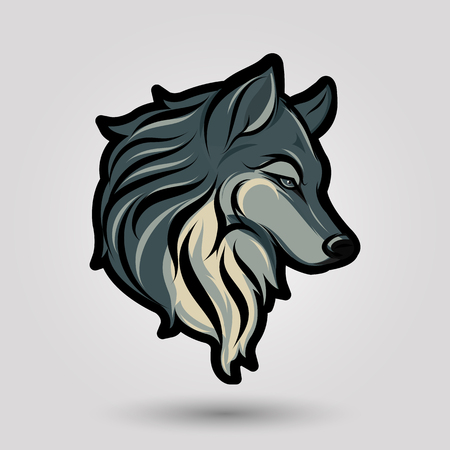 black and white wolf: green wolf head design on gray background