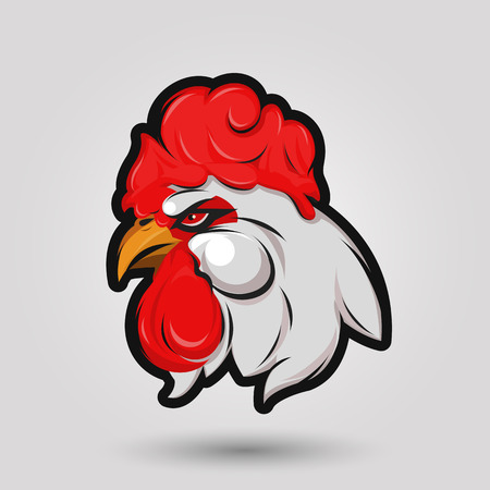 red rooster head sign on gray background Banco de Imagens - 55824408