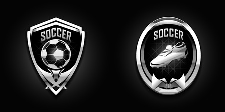 cromo: cromo de fútbol emblemas de diseño en fondo oscuro Vectores
