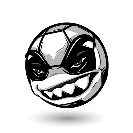 angry soccer ball cartoon design on white background Banco de Imagens - 58028137
