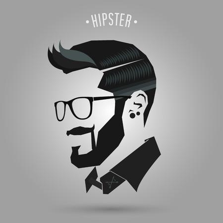 hipster blaue Farbe Frisur auf grauem Hintergrund