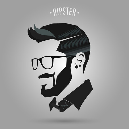 style man: hipster blue color hair style on gray background