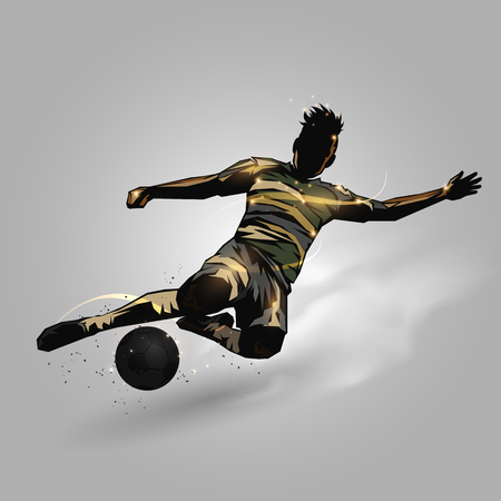 soccer player slide tackle ball on gray background