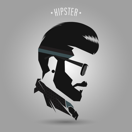 beard man: hipster men vintage hair style on gray background Illustration