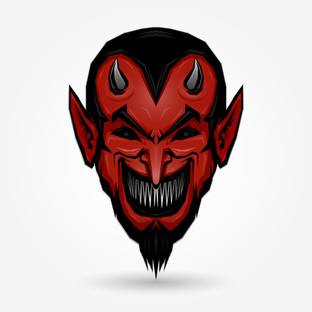satan: Diseño de la cara del diablo rojo sobre fondo gris