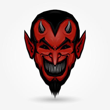 Red devil face design on gray background Ilustração